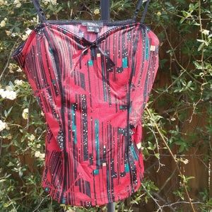 Glittery graphic multi-colored red bustier top